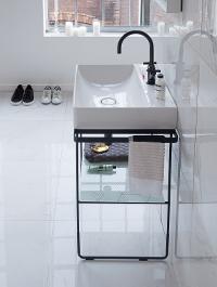 Des Dimensions Adaptees Aux Petites Salles De Bains Les Formes Subtiles Du Lave Mains Et La Console Metallique Creent Une Transparence Legerete